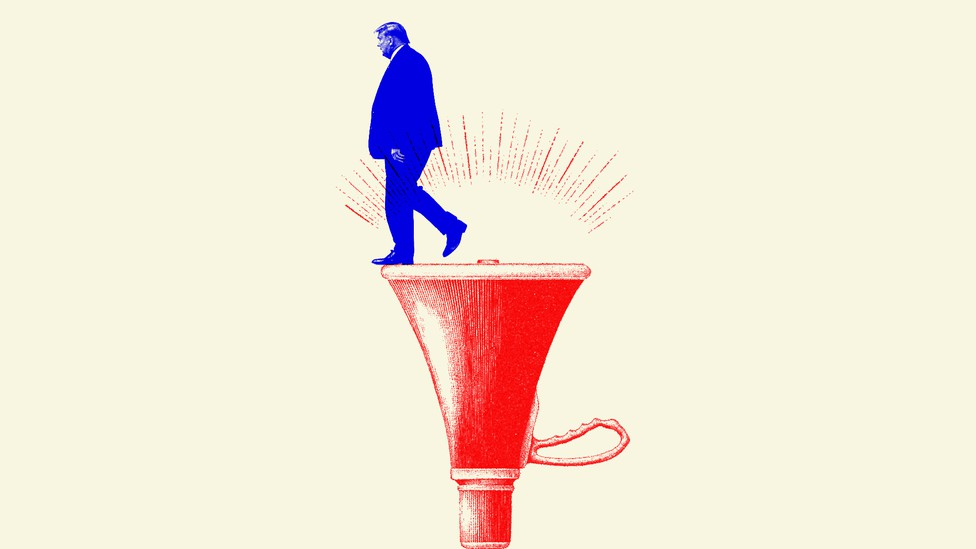 A red-and-blue illustration of Trump walking off a megaphone