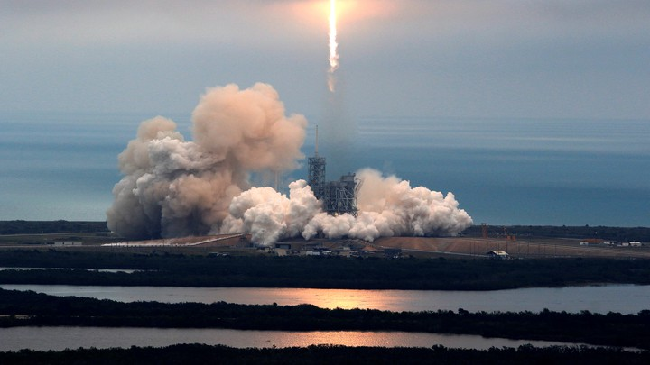 A SpaceX Falcon 9 rocket blasts off from Kennedy Space Center in Cape Canaveral, Florida, on February 19, 2017.