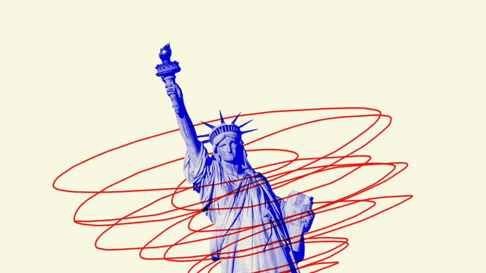 An illustration of the Statue of Liberty in a spiral