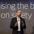 Uber CEO Dara Khosrowshahi speaks during the company's unveiling of the new features in New York.