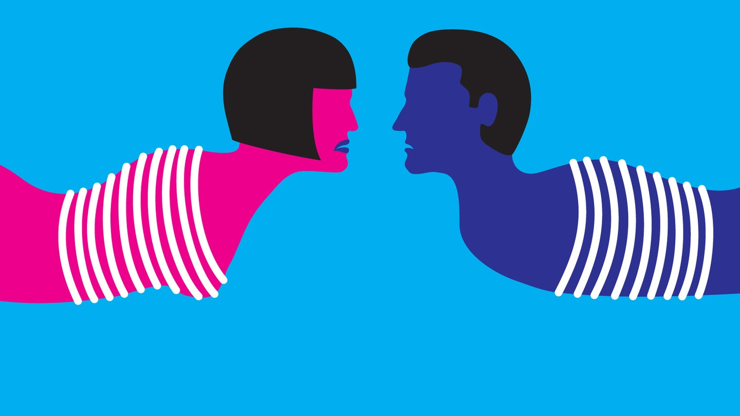 A hot-pink female silhouette and a blue male silhouette are bound and facing each other.