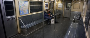 A New York subway train is pictured.