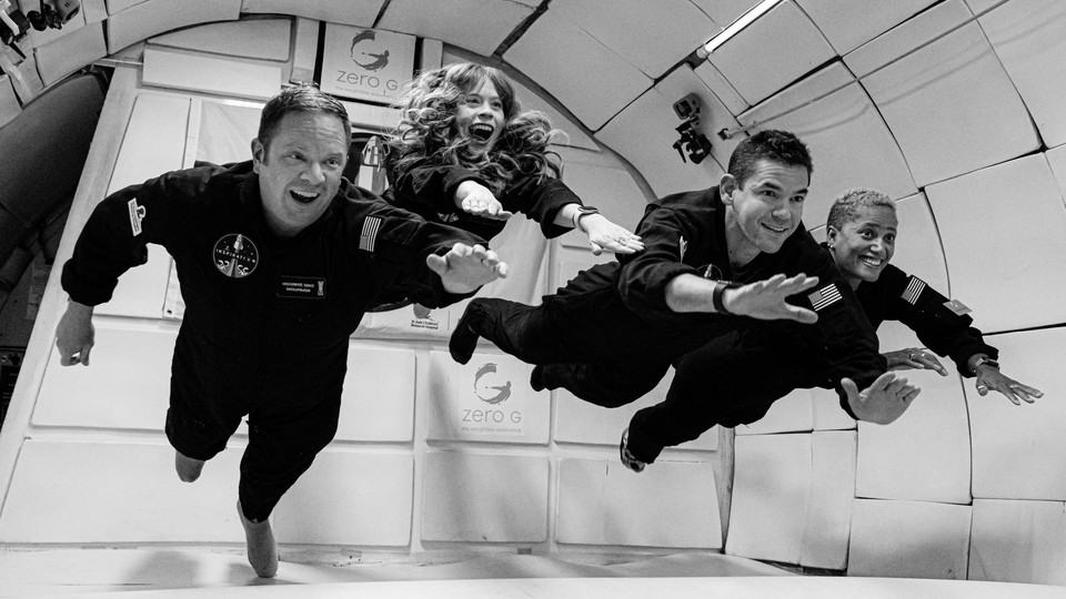 The crew of SpaceX's first privately funded trip to space is seen training for their journey.