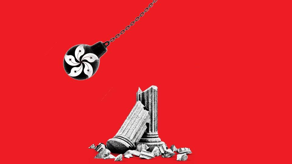 A wrecking ball bearing the symbol of Hong Kong's flag breaks a column.