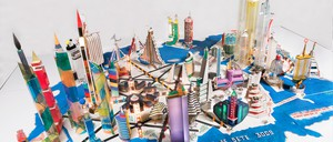 A city built with colorful plastic and paper