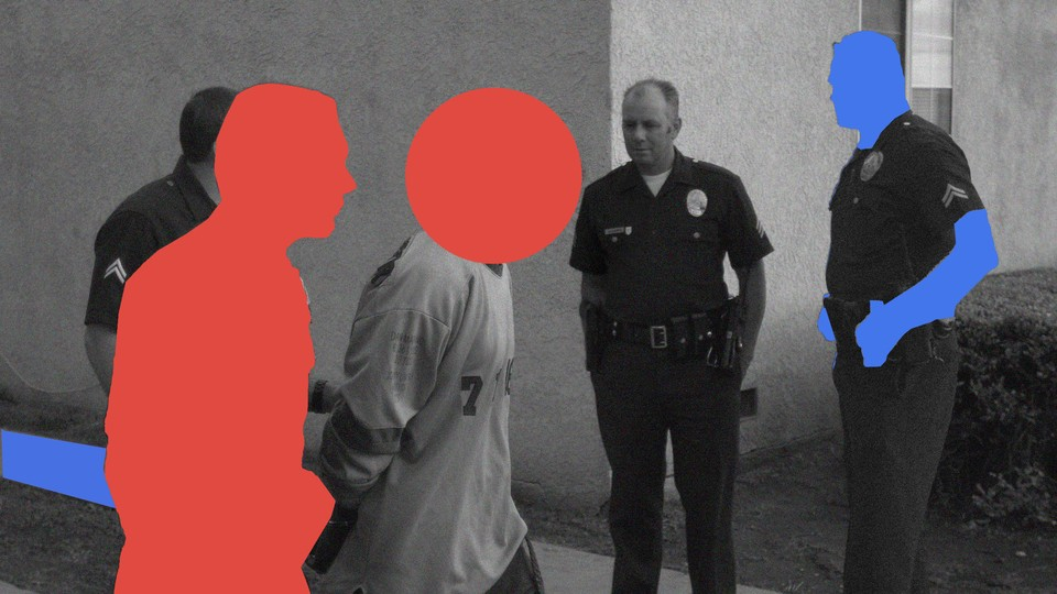 A photo illustration of red and blue silhouetted police officers and people in handcuffs.
