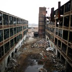 The long-vacant Packard Plant in Detroit, Michigan, an abandoned factor.