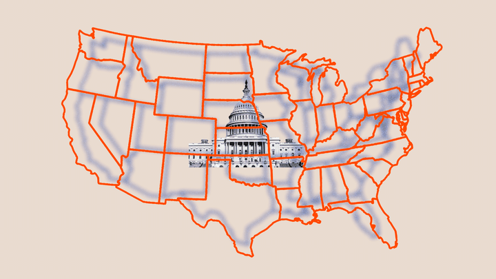 An illustration of a map of the United States with the Capitol behind it.