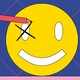 A person with a giant pencil makes a check mark in the eye of a smiley face, as though marking a ballot