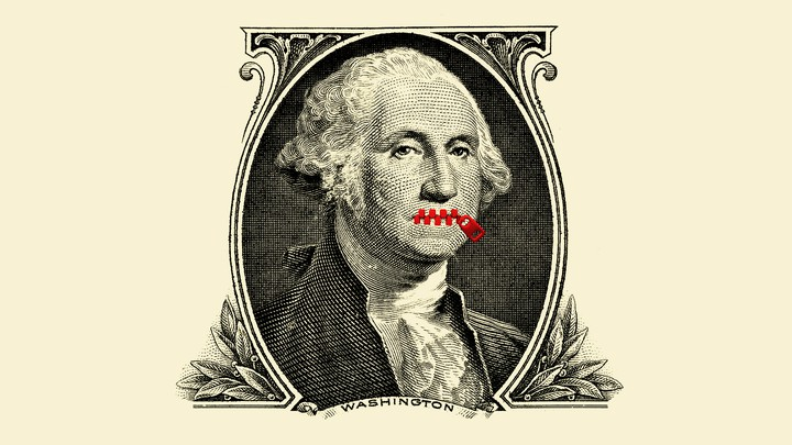 A dollar bill with a zipper over George Washington's mouth