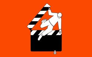 illustration of person hurdling over film clapperboard