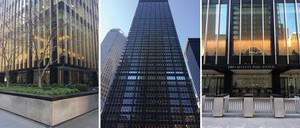Three different perspectives of a Modernist skyscraper