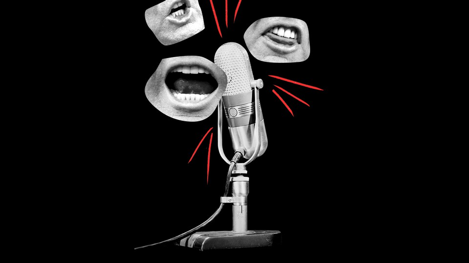 An illustration of a microphone with photos of Trump's mouth.