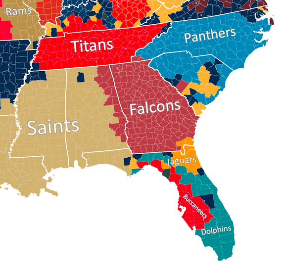 us map of football teams The Geography Of Nfl Fandom The Atlantic