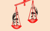 An illustration of a set of scales with Bill Barr's face