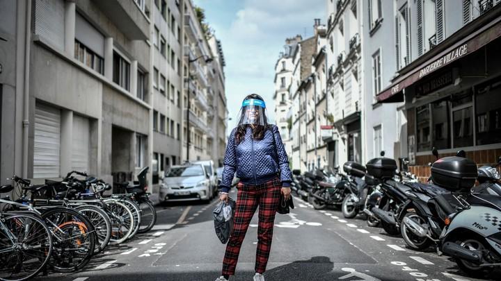 woman wearing a face shield