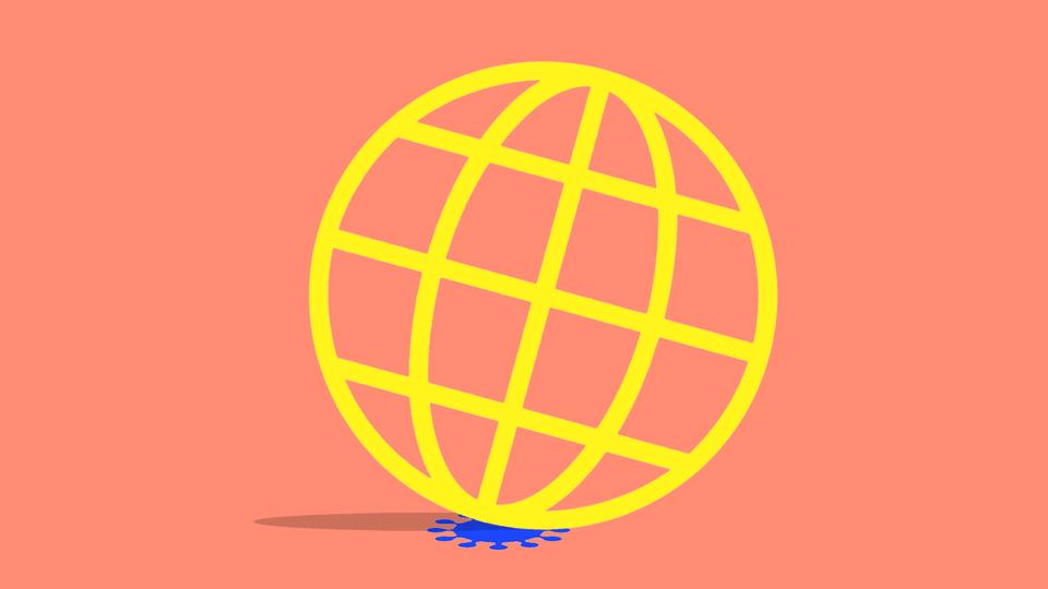 An illustration of the globe resting on a spot of coronavirus