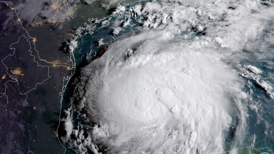 Hurricane Harvey is seen in the Texas Gulf Coast in this NOAA GOES satellite image on August 24, 2017
