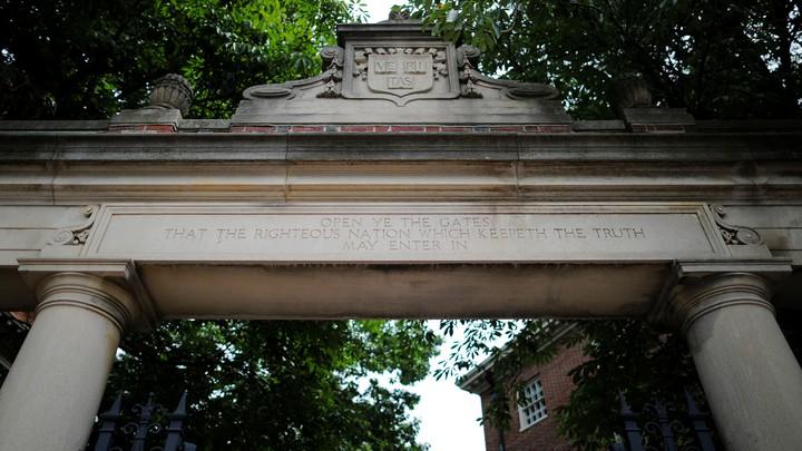 A gate to Harvard University