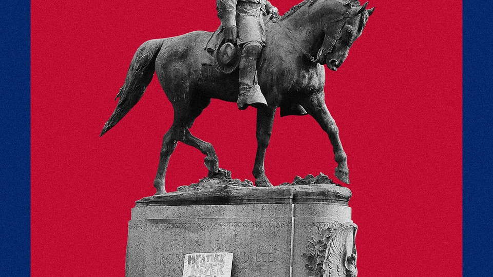An illustration of a Confederate statue