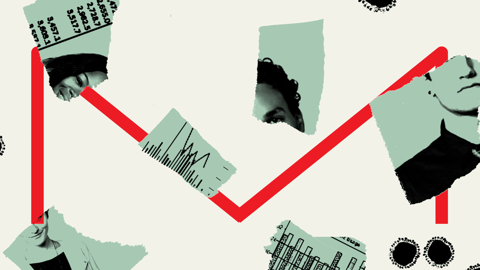 An illustration of the letter M with torn images.