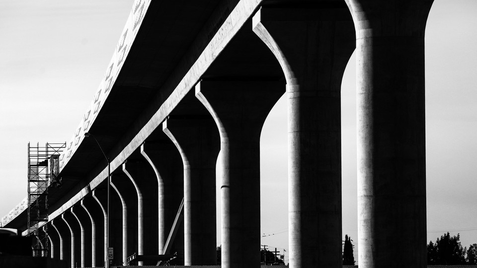 Unfinished pylons for the still-incomplete high-speed rail line in Fresno, California, on July 18, 2018