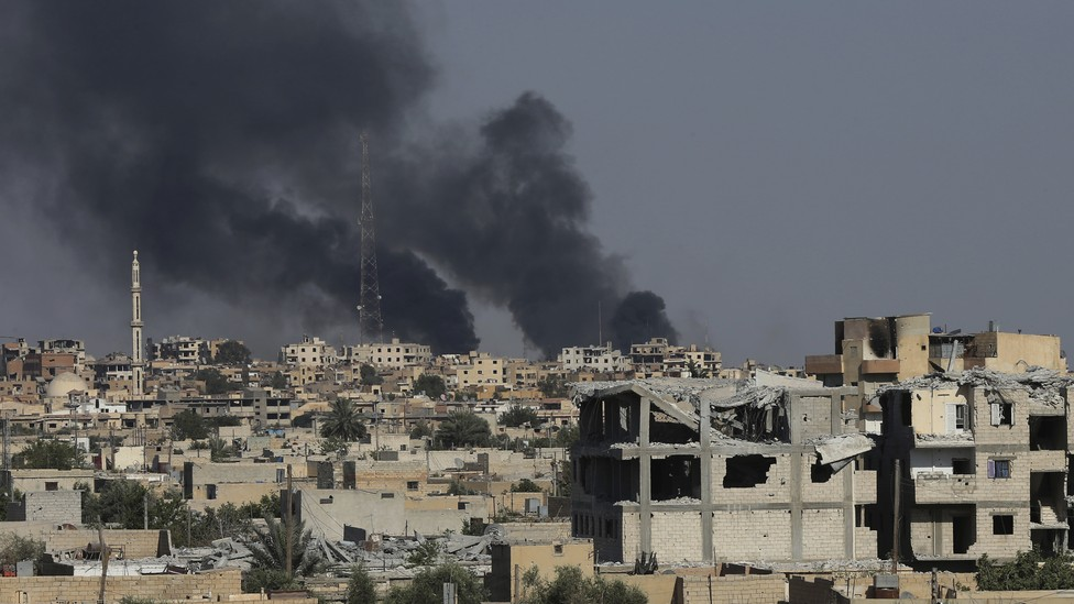 A view of Raqqa as U.S.-backed force battle against ISIS militants on July 27, 2017