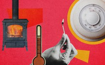 A collage with images of a furnace, a thermostat, and a match