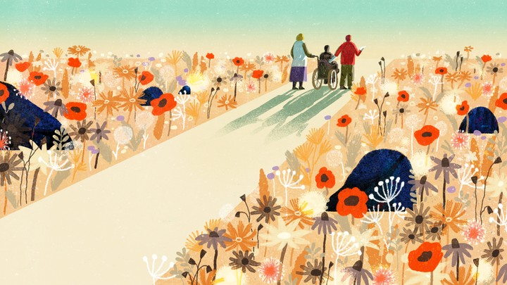 An illustration of two friends pushing another friend in a wheelchair through a garden.
