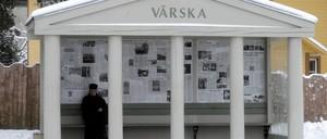 A bus stop in the Estonian town of Värska