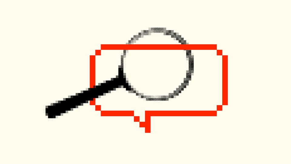 A collage of a magnifying glass and a text-chat word balloon