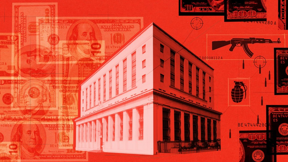 An image of a building between collages of bills and weapons