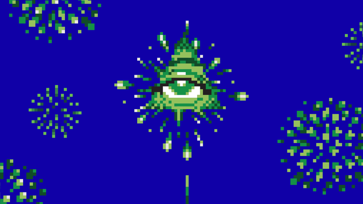 A pixelated image of fireworks forming the shape of the all-seeing eye.