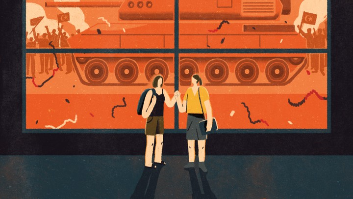 An illustration of two friends holding hands while a military tank drives by the window.