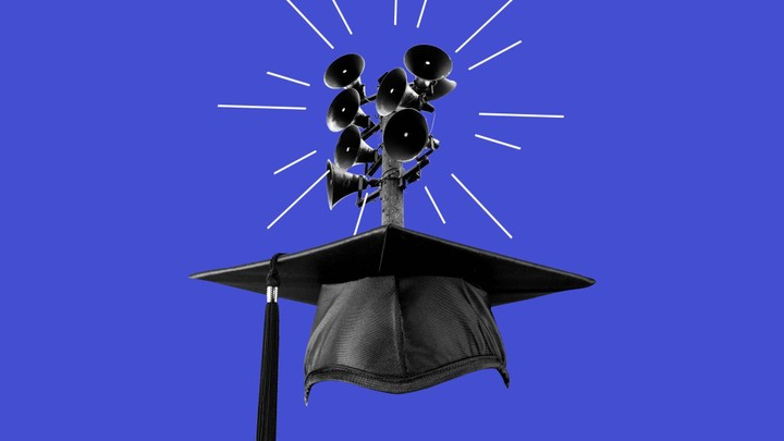 An illustration of a graduation cap with speakers.