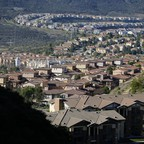 A photo of single-family homes along a hillside in San Marcos, California.