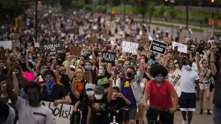 Demonstrators at a protest against police brutality in Minneapolis.