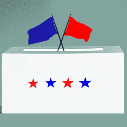 A ballot box with a red flag and a blue flag sticking out