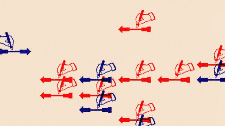 An illustration of red and blue hands writing with a pencil
