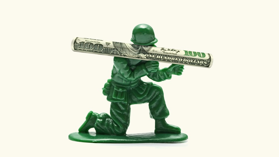 Artwork of a toy soldier wielding a rocket launcher made of a $100 bill