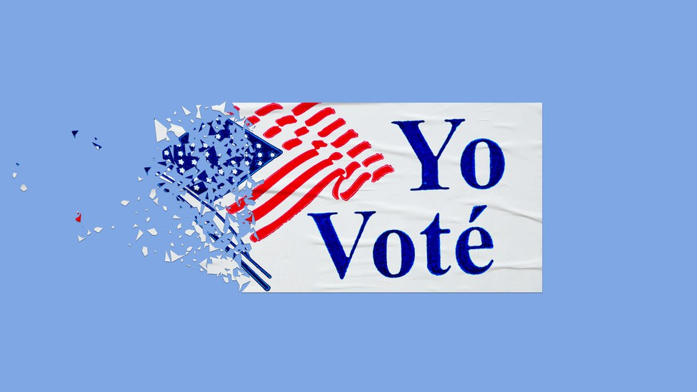 "An illustration of a ""Yo Voté"" sticker disintegrating."