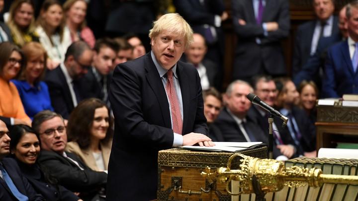 Boris Johnson delivers a speech in Parliament.