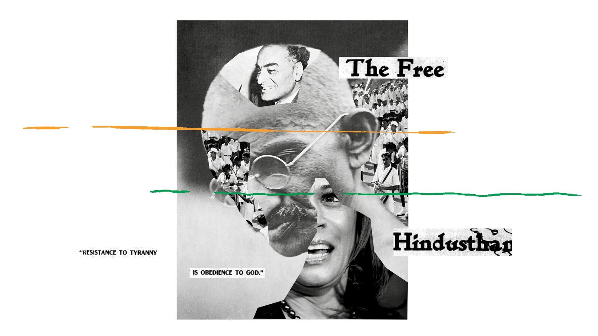 A collage including images of J. J. Singh, Kamala Harris, and Mahatma Gandhi