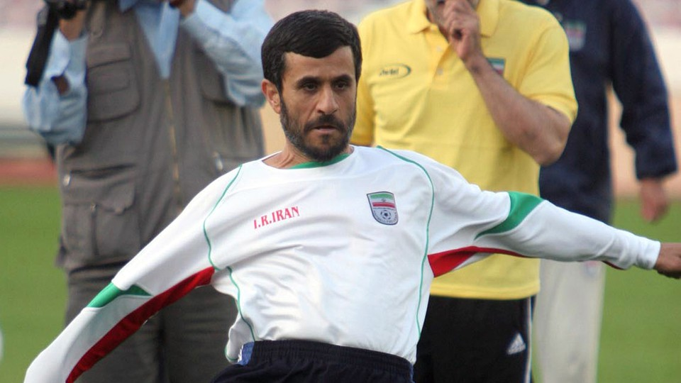 Mahmoud Ahmadinejad practices the other kind of football with the Iranian national team in 2006