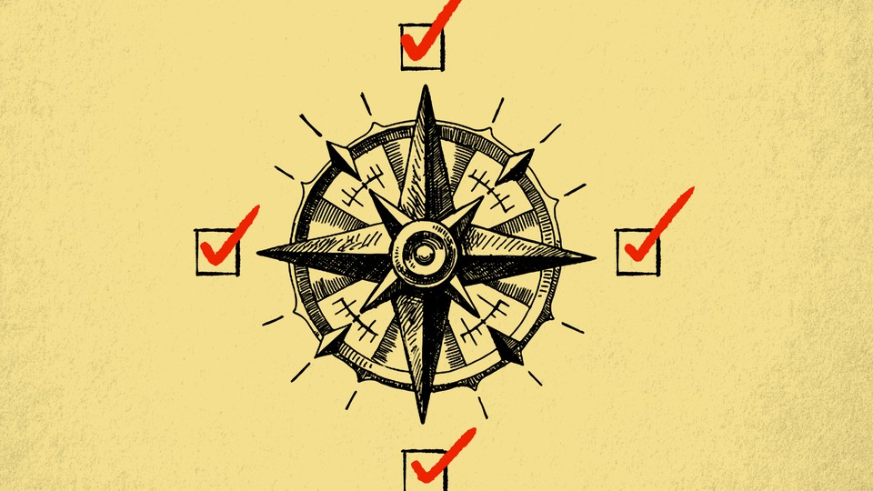 An illustration of a compass with check boxes