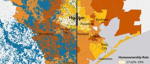 How Houston homeownership rates overlap with Harvey-induced floods.