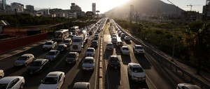 Cars are seen during early rush hour in Monterrey, Mexico on June 15, 2017.