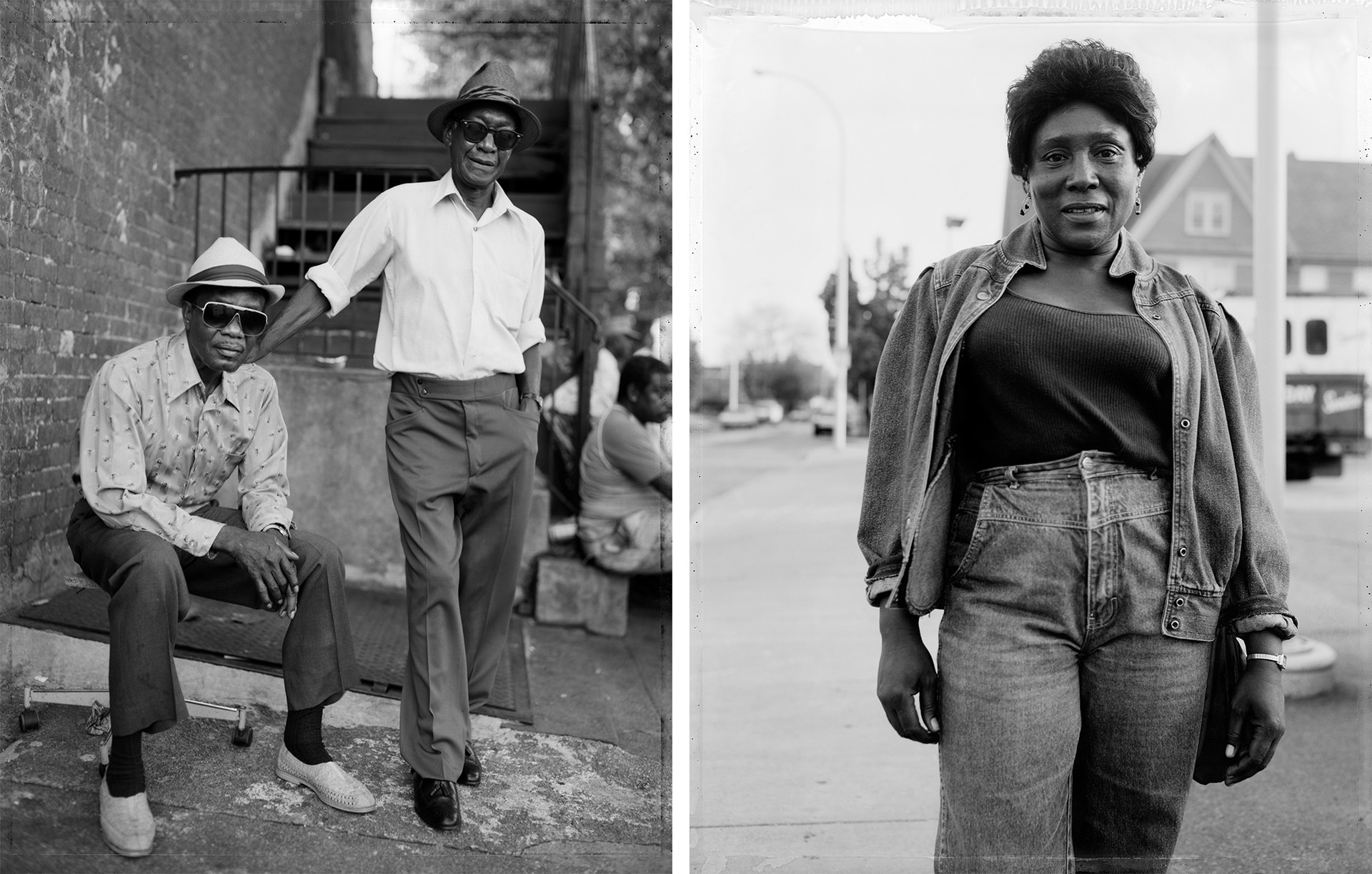 left: photo of two men wearing sunglasses and hats; right: photo of woman wearing denim