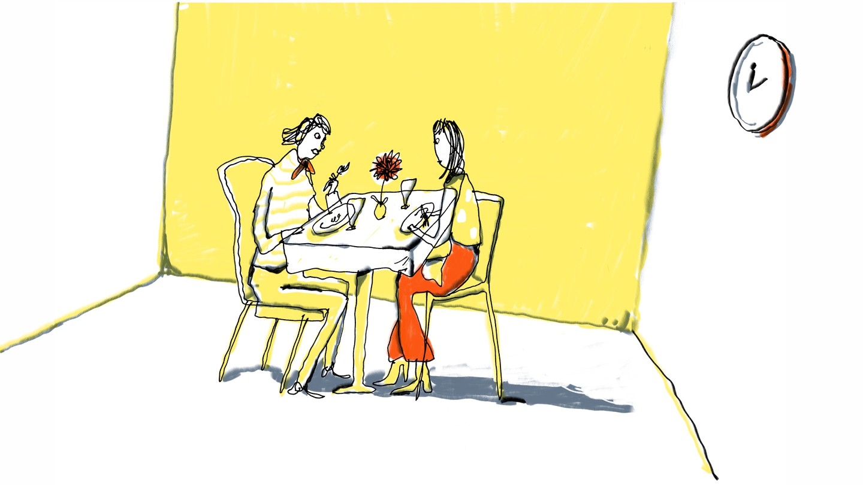 illustration woman dining