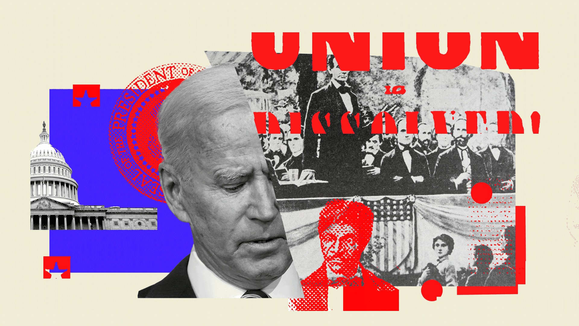 A collage of images of Joe Biden, the Capitol, Abraham Lincoln, and the Civil War era